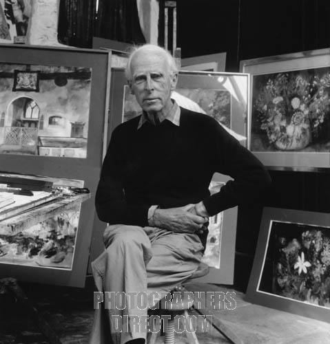 John Piper - portrait of the English artist surrounded by some of his paintings.